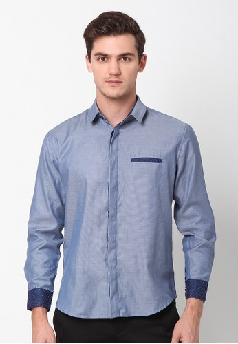 Ornith blue Blue Monochrome Long Sleeve Button Up Shirt 0D867AA6D63C37GS_1