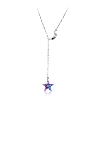 Glamorousky purple Simple 925 Sterling Silver Star Necklace with Austrian Element Crystal 6EA95ACE34FEA2GS_1