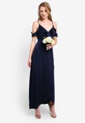 ZALORA navy Bridesmaid Cold Shoulder Maxi Dress 12E5FAA9B1EC2DGS_1