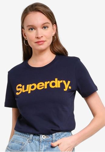 SUPERDRY navy Cl Flock Tee 4E175AAC9D11F5GS_1