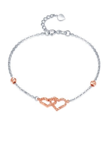 MaBelle silver 14K 585 Rose and White Gold Diamond Cut Interlock Heart Double Chain Bracelet D87ABACDF842ADGS_1