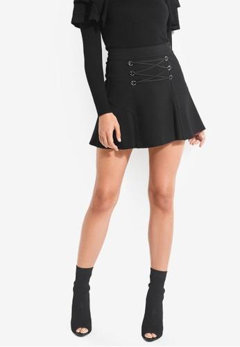 Guess black Arita Lace-Up Ponte Mini Skirt F481AAA840CEB6GS_1