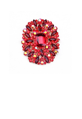 Glamorousky red Elegant and Bright Plated Gold Geometric Pattern Brooch with Red Cubic Zirconia 6FBCCAC3959EB0GS_1