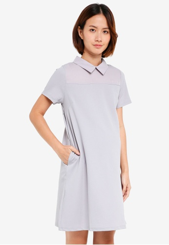Spring Maternity grey Maternity Short Sleeve Yeva Dress 4EC8EAA417222DGS_1
