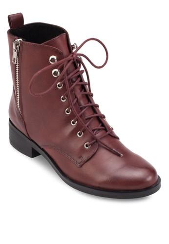 側拉鍊繫帶騎士短靴,esprit tst 女鞋, 靴子