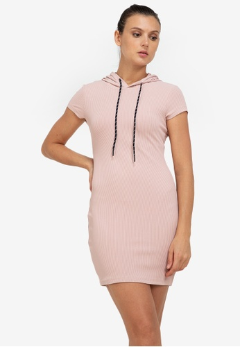 ZALORA ACTIVE pink Ribbed Sleeveless Hoodie Dress 947E4AA55561C0GS_1