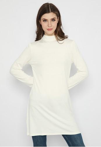 Le'Rosetz white Tunik Rayon Spandex White B4112AA31016FFGS_1