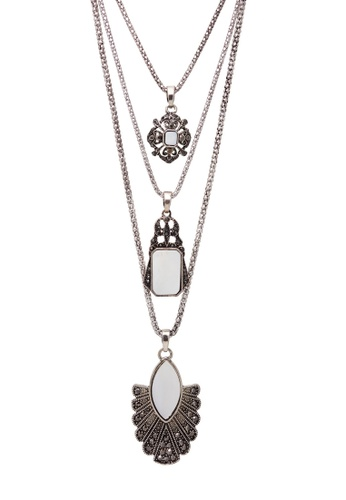 Jaysa Collection silver Multi-Layers Antique Silver Necklace with Mother-of-Pearl Ornaments B3E2FACEA7CC64GS_1