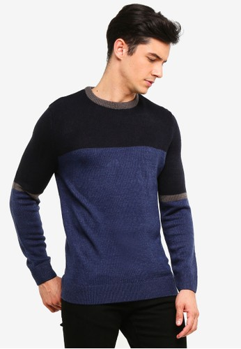 OVS blue and multi Knitted Pullover With Round Neck 7F2F7AA9C64613GS_1