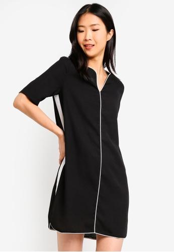 ZALORA BASICS black Basic Contrast Notch Neck Dress EFBD3AA4FF6932GS_1