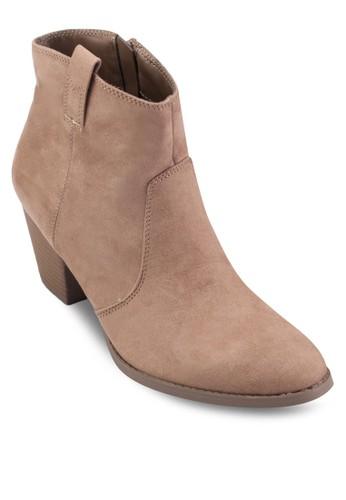 仿麂皮木製粗跟踝靴, zalora開箱女鞋, 鞋