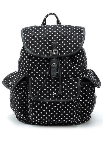 LULUGIFT black and white US Imported Fashionable Nylon Backpack Polka LU989AC88FLBMY_1