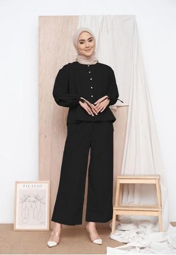 Zalima Zalima Rania Linen Set in Black A6574AAE407D1EGS_1