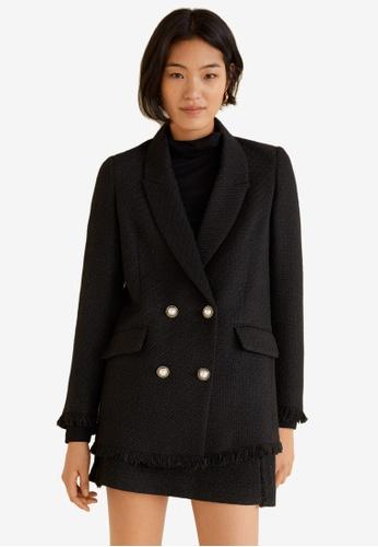 Mango black Bead Detail Tweed Blazer 14A18AA87EF65CGS_1