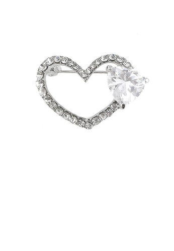 Glamorousky silver Dazzling Heart Brooch with Silver Austrian Element Crystal and CZ FBA45AC6182E5FGS_1