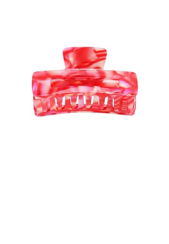 Glamorousky red Simple Fashion Red Pattern Geometric Rectangle Hair Claw BE354ACFFE3149GS_1
