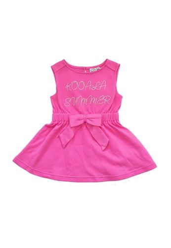 Vauva pink Vauva Kooala Girls Ribbon One-Piece Dress - Pink F9CF1KAEF3885BGS_1