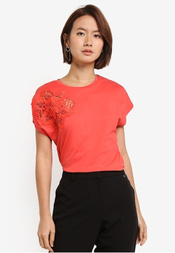 Dorothy Perkins red Coral Embellished Tshirt 7DDD0AA408F855GS_1