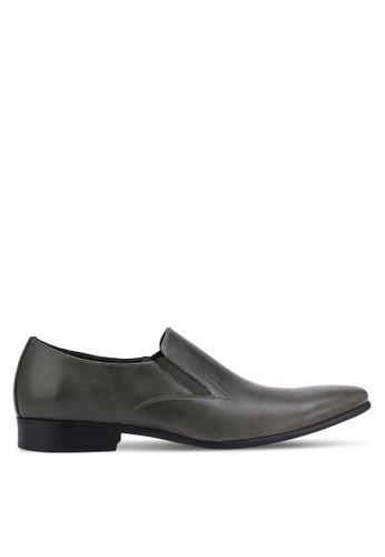 ZALORA grey Basic Faux Leather Slip On Dress Loafers 45491AA2A8370BGS_1