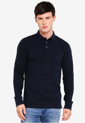 French Connection navy S66 Brunswick Plain Long Sleeve Polo Shirt 1A93EAA109F5B5GS_1