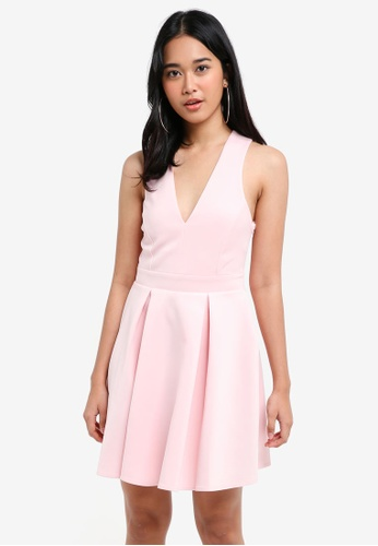 Miss Selfridge pink Pink Scuba Fit And Flare Dress E0646AA4C32397GS_1