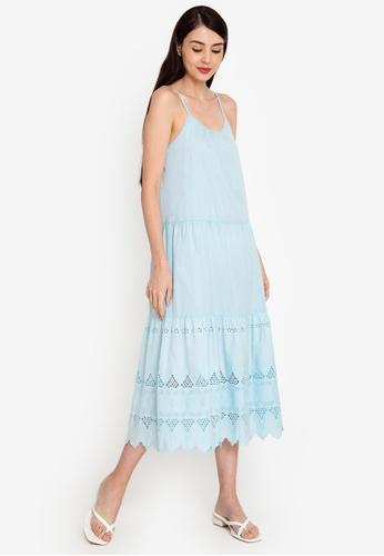 ZALORA BASICS blue Maxi Broderie Dress 3B94EAA60ECD3BGS_1
