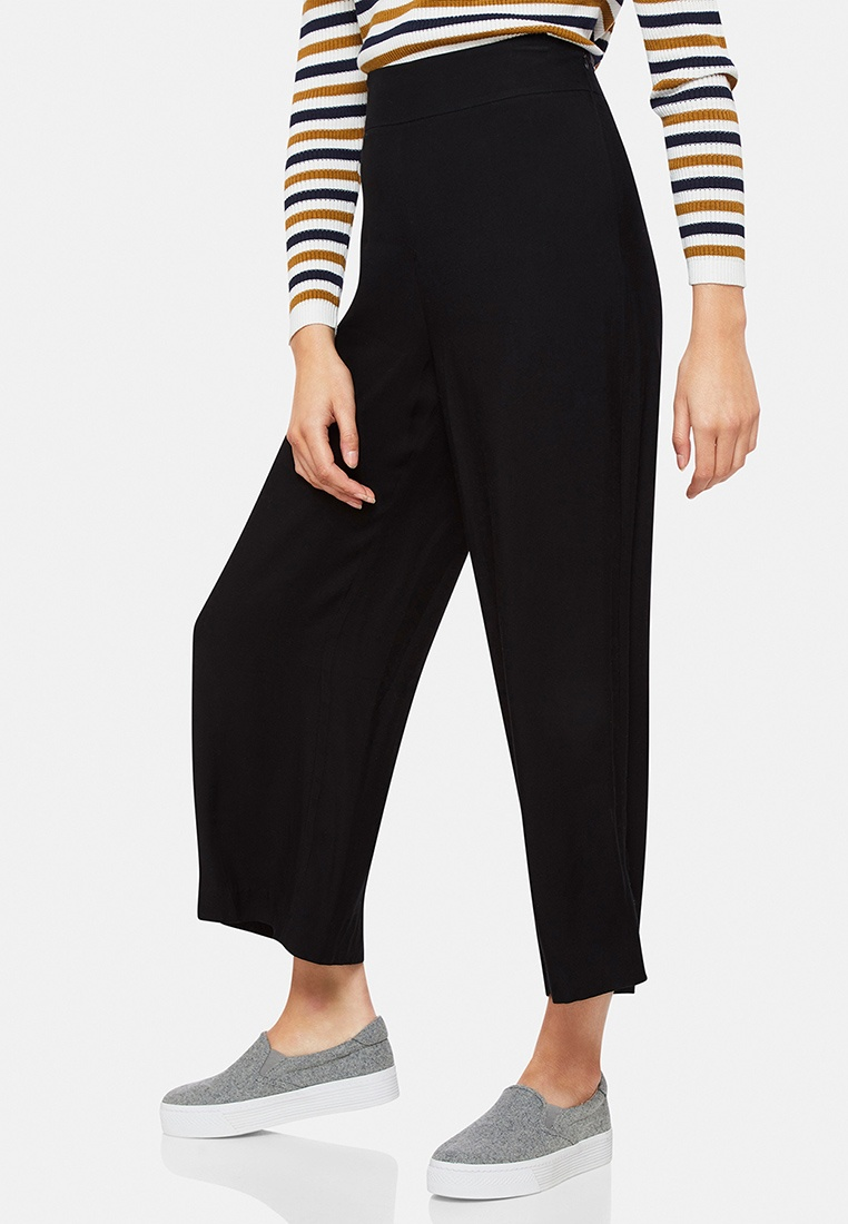 Oxford Cropped Wide Leg Black Pant Zaira wqAvwfHr