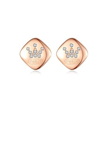 Glamorousky 白色 925純銀鍍玫瑰金簡約時尚幾何菱形耳釘配鋯石 463A3ACB84BAE1GS_1