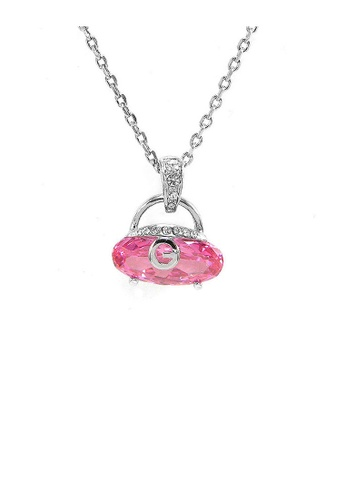 Glamorousky silver Cutie Handbag Pendant with Pink Crystal Glass and Silver Austrian Element Crystals and Necklace 1E5BCACC048AFDGS_1