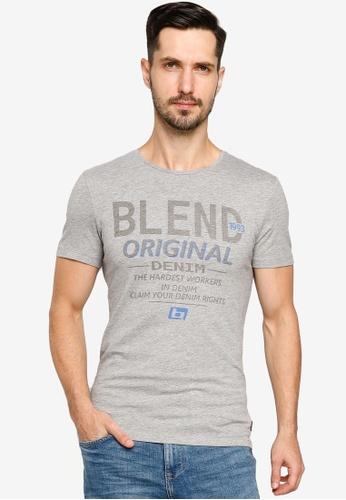 BLEND grey Vintage Text Crew Neck T-Shirt 79A4FAAAC2631CGS_1