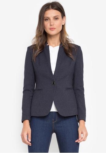 Well Suited blue Star Collar Stripe Blazer 8CC8BAA60D80E6GS_1