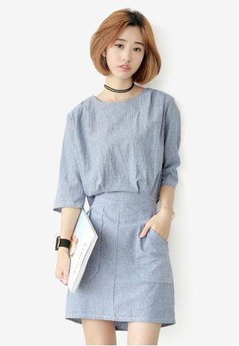細條紋七分袖連身裙esprit hk, 服飾, 洋裝