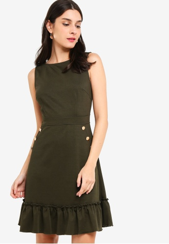 ZALORA green Gathered Hem Sleeveless Dress 30E39AAF72BB84GS_1