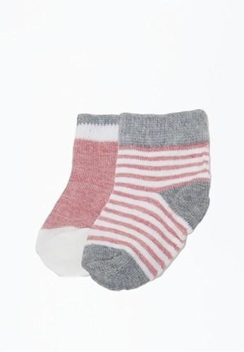 Cribcot pink Socks Girl - Stripes Plain Pink NB x2 A035FKA6240C17GS_1