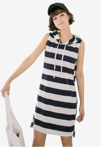 Tokichoi navy Casual Striped Hooded Dress 2C969AA4261271GS_1