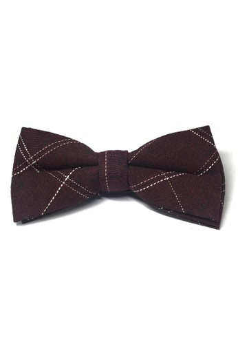 Splice Cufflinks red Folks Series Large Squares Maroon Red Cotton Pre-Tied Bow Tie SP744AC58TYRSG_1