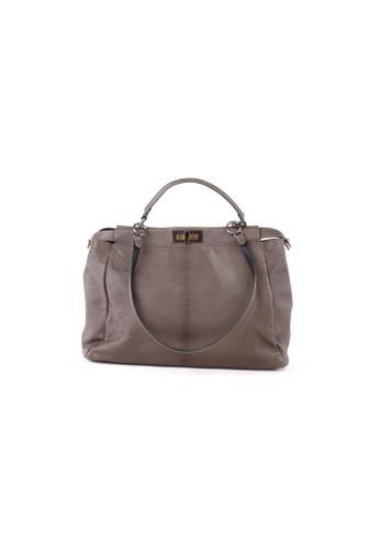 FENDI brown Pre-Loved fendi Fendi Taupe Leather Large Peekaboo Shoulder Bag BAE8EAC66FA78DGS_1