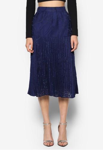 提花拼接百褶及膝裙, 服飾esprit官網, 裙子