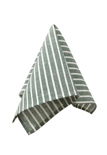Caveman green Green White Stripe Pocket Square 53201ACFFDAF26GS_1