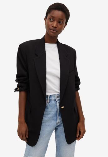 Mango black Structured Flowy Suit Jacket 89A77AA7BC1890GS_1