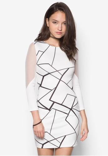網紗拼袖印花連身裙, 服飾, 服zalora 心得 ptt飾