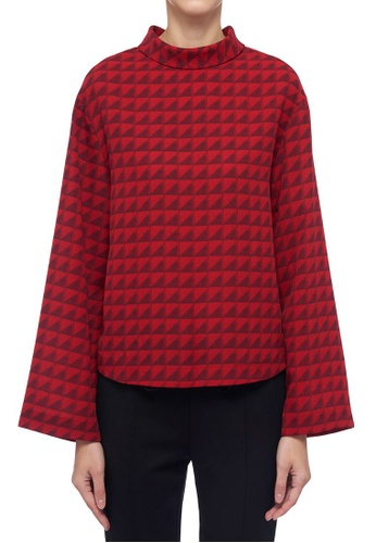 CK CALVIN KLEIN red Printed Pleatable Poly Crepe Blouse 6AF8BAA998A93BGS_1