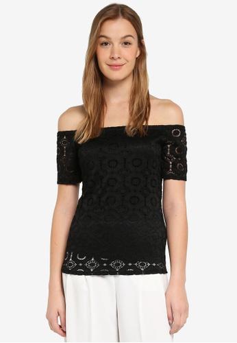 42eddd2a93b94 Buy Dorothy Perkins Black Lace Bardot Top Online on ZALORA Singapore