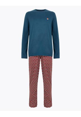 MARKS & SPENCER green M&S Pure Cotton Printed Pyjama Set 07ECBAA8E1BFD1GS_1