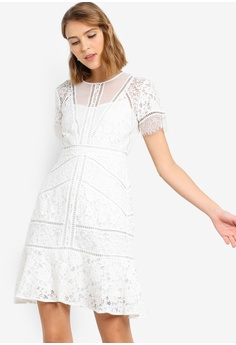 34539557fe6 French Connection white Chante Lace Mix Dress D381FAAED8943CGS 1