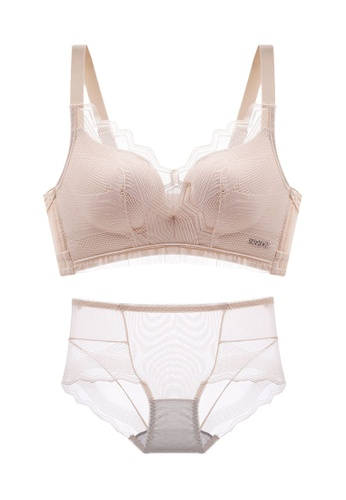 ZITIQUE beige Women's Breathable Push Up Lace Lingerie Set (Bra And Underwear) - Beige D591CUS954FCF2GS_1