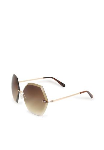 ASLLY multi and brown Romance│Hexagonal Sunglasses 16149GLF7BC588GS_1