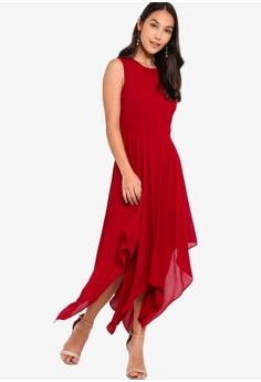 fae50f552a ZALORA red Evening Sheer Panels Handkerchief Dress 16715AA65C05E0GS_1