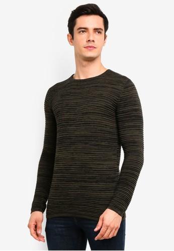 !Solid green Struan Melange Knit Sweater 0F005AA424928FGS_1