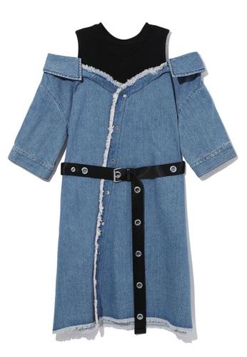 b+ab navy Cold shoulder layered plaid dress 86393AAD9E8E7AGS_1
